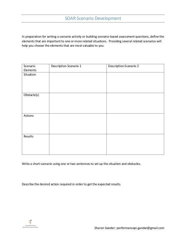 SOAR Scenario Development Sharon Gander: performancepi.gander@gmail.com In preparation for writing a scenario activity or ...