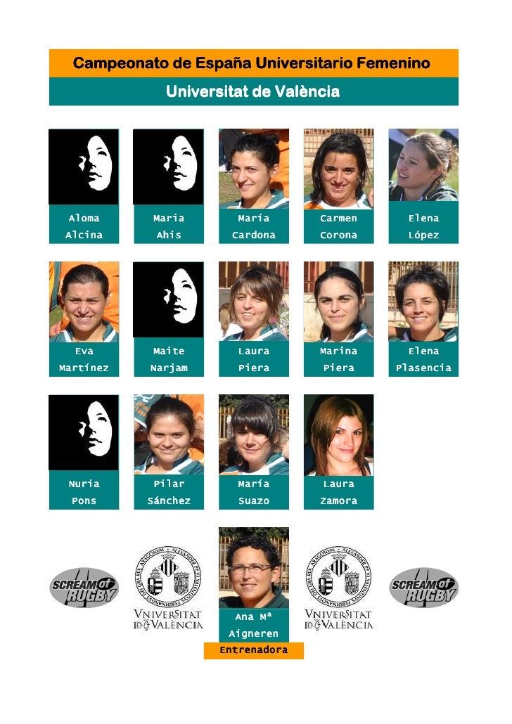 Campeonato de España Universitario Femenino             Universitat de València Aloma      Maria       María      Carmen  ...