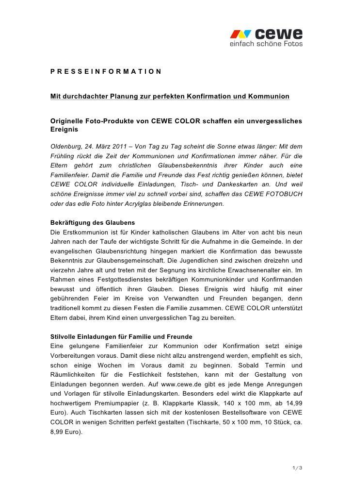 PRESSEINFORMATIONMit durchdachter Planung zur perfekten Konfirmation und KommunionOriginelle Foto-Produkte von CEWE COLOR ...