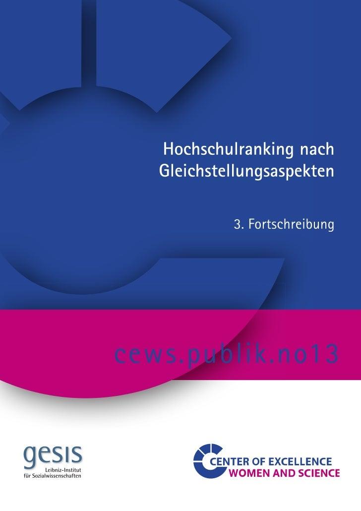 Andrea Löther   Hochschulranking          nachGleichstellungsaspekten     3. Fortschreibung