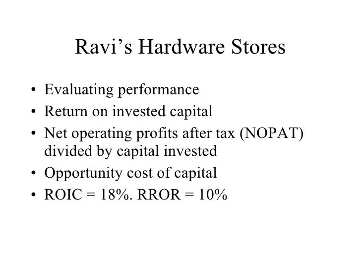 Ravi's Hardware Stores <ul><li>Evaluating performance </li></ul><ul><li>Return on invested capital </li></ul><ul><li>Net o...