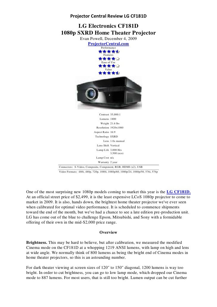 Projector Central Review LG CF181D                            LG Electronics CF181D                     1080p SXRD Home Th...