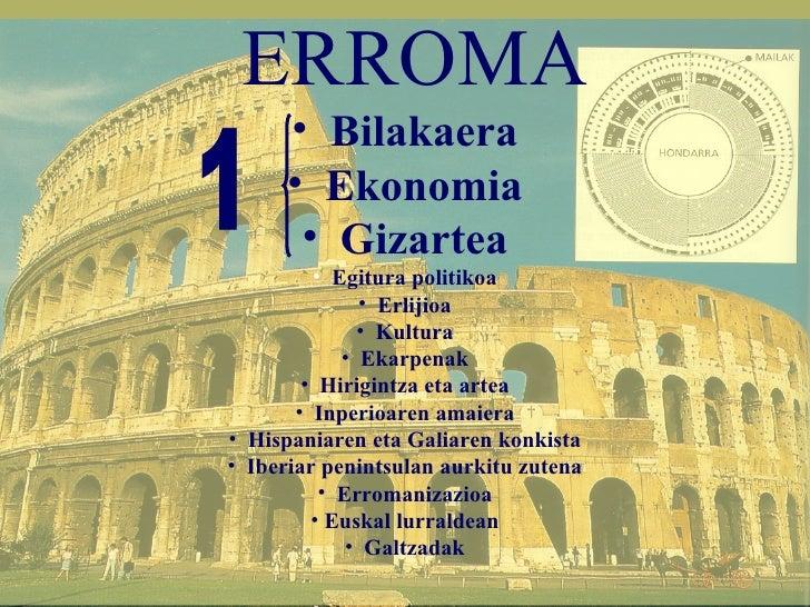 <ul><li>ERROMA </li></ul><ul><li>Bilakaera </li></ul><ul><li>Ekonomia </li></ul><ul><li>Gizartea </li></ul><ul><li>Egitura...