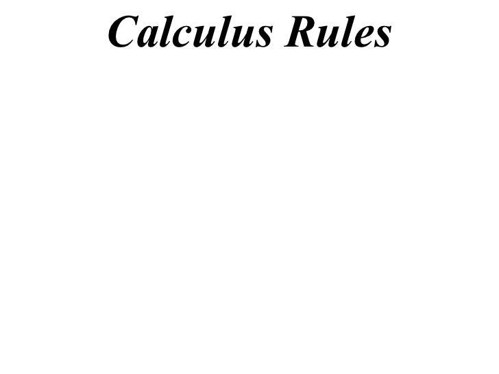 Calculus Rules