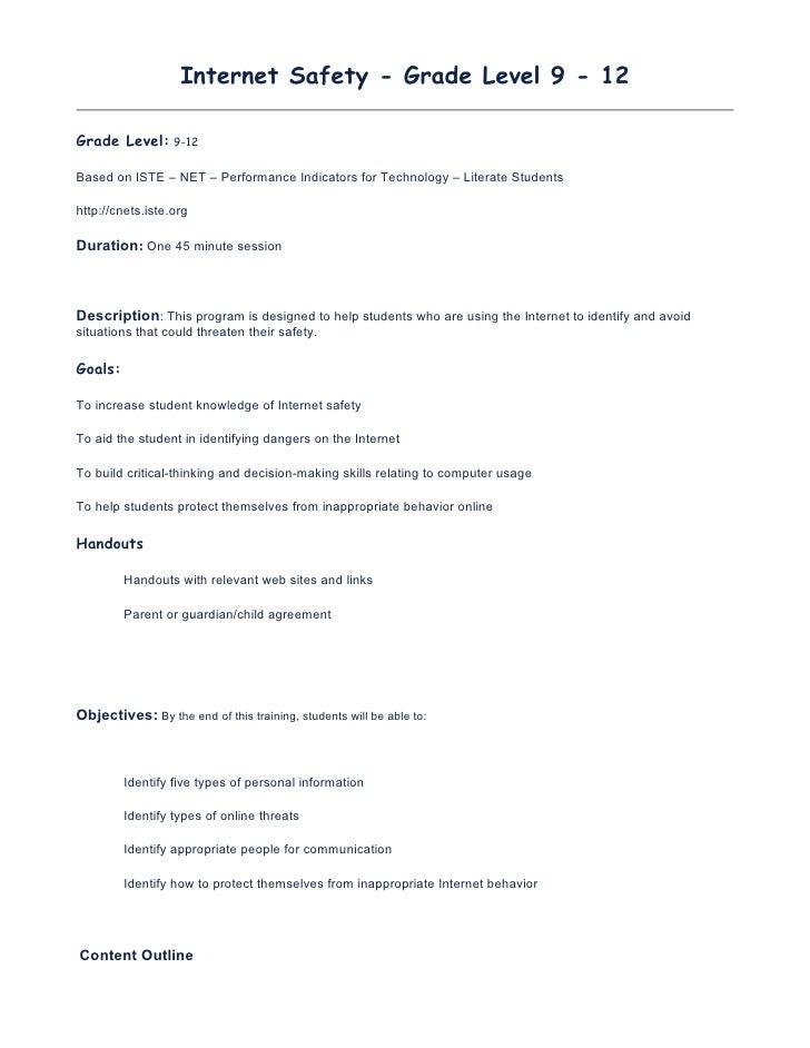Internet Safety - Grade Level 9 - 12  Grade Level: 9-12  Based on ISTE – NET – Performance Indicators for Technology – Lit...