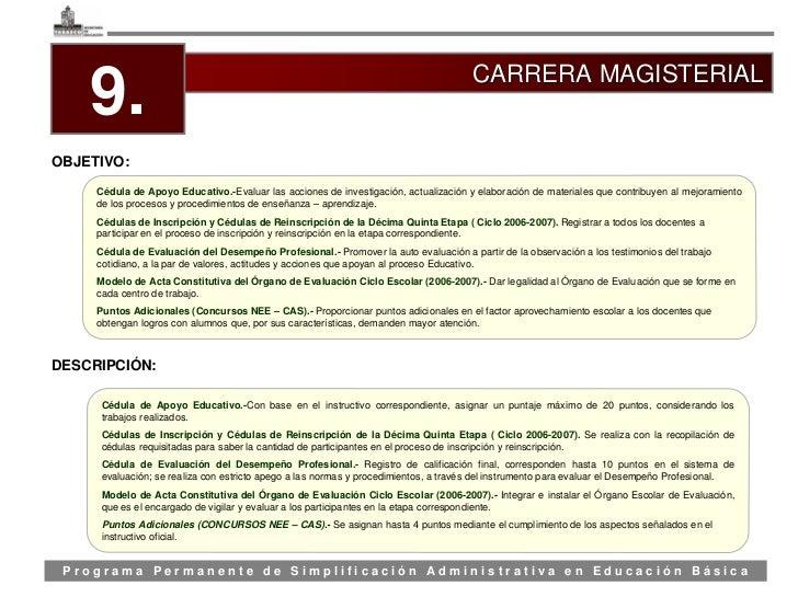 CARRERA MAGISTERIAL     9. OBJETIVO:       Cédula de Apoyo Educativo.-Evaluar las acciones de investigación, actualización...