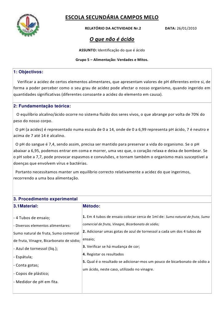 ESCOLA SECUNDÁRIA CAMPOS MELO                                          RELATÓRIO DA ACTIVIDADE Nr.2                       ...