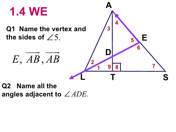 1.4 WE Q1  Name the vertex and  the sides of Q2  Name all the angles adjacent to