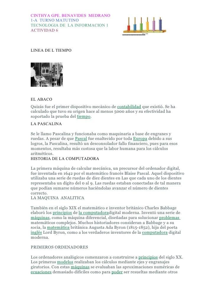 CINTHYA GPE. BENAVIDES MEDRANO 1-A TURNO MATUTINO TECNOLOGIA DE LA INFORMACION 1 ACTIVIDAD 6    LINEA DE L TIEMPO     EL A...