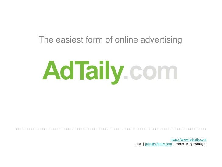 AdTaily.com - the easiest way to advertise online