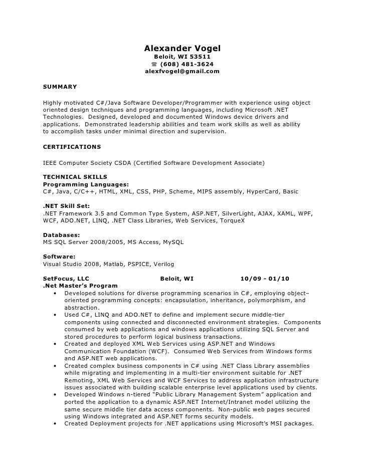 sample resume for one year experienced software engineer sample resume - Sample Resume In Java