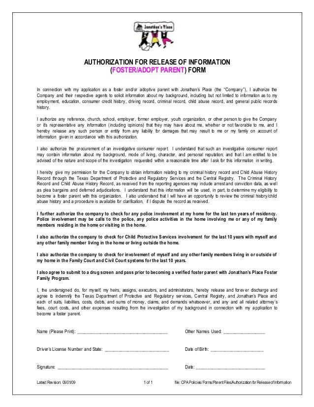 Latest Revision: 06/01/09 1 of 1 file: CPA Policies/Forms/ParentFiles/Authorization for Release ofInformation AUTHORIZATIO...