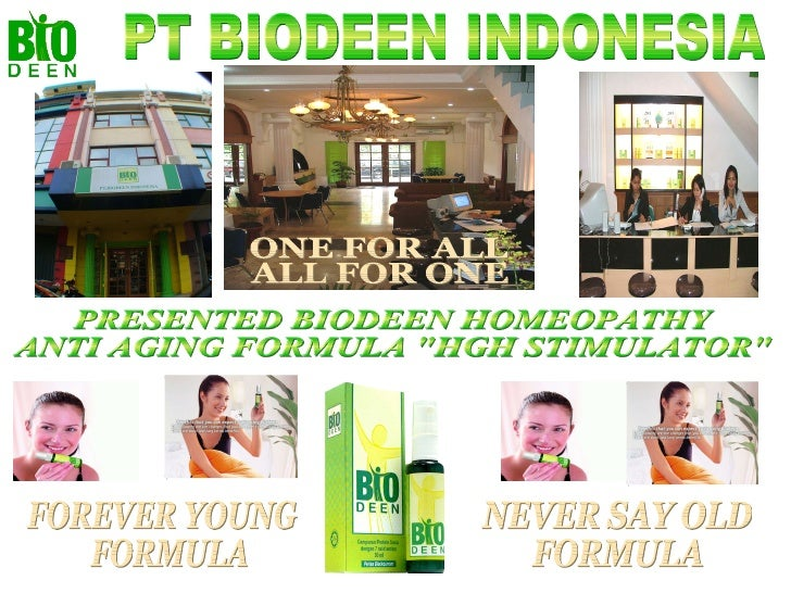 """PRESENTED BIODEEN HOMEOPATHY ANTI AGING FORMULA """"HGH STIMULATOR""""  PT BIODEEN INDONESIA NEVER SAY OLD FORMULA FOR..."""