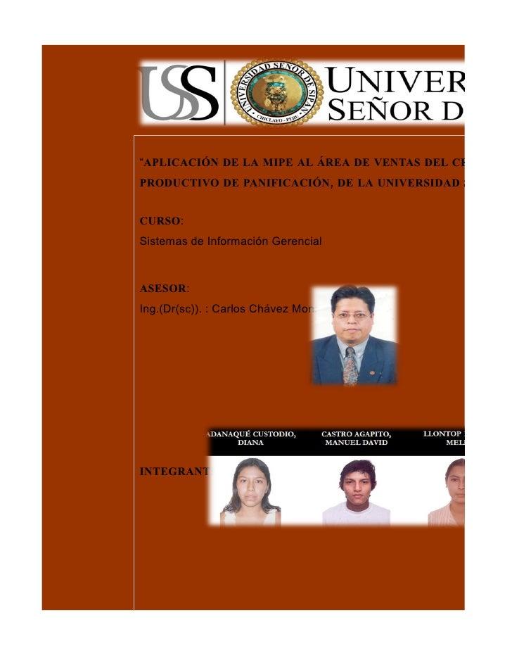 """""""APLICACIÓN DE LA MIPE AL ÁREA DE VENTAS DEL CENTRO PRODUCTIVO DE PANIFICACIÓN, DE LA UNIVERSIDAD SEÑOR D  CURSO: Sistema..."""