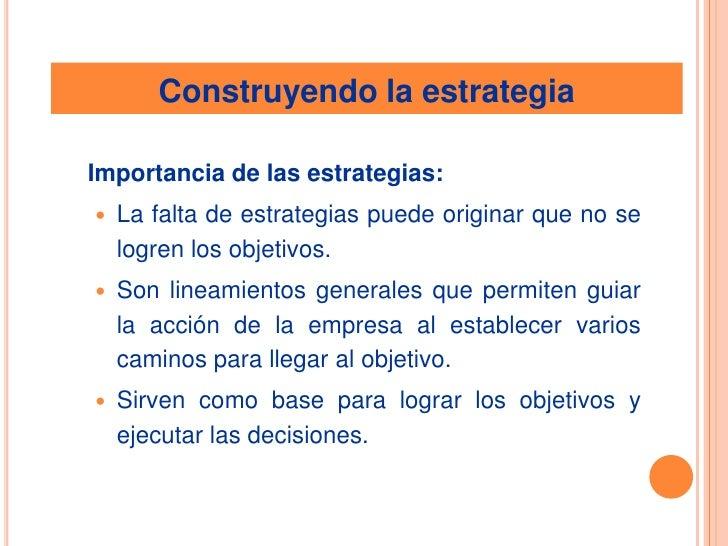 Construyendo la estrategia<br />Importancia de las estrategias: <br />La falta de estrategias puede originar que no se lo...