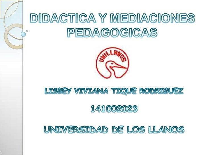 DIDACTICA Y MEDIACIONES<br />PEDAGOGICAS<br />LISBEY VIVIANA TIQUE RODRIGUEZ<br />141002023<br />UNIVERSIDAD DE LOS LLANOS...