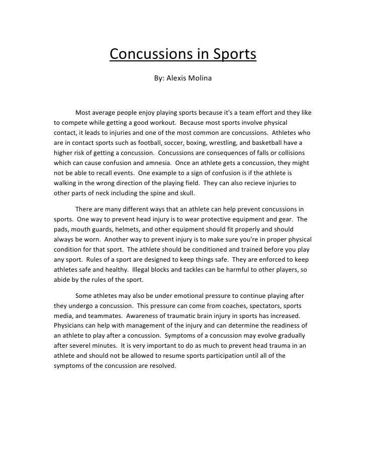 Persuasive essay on concussions in sports