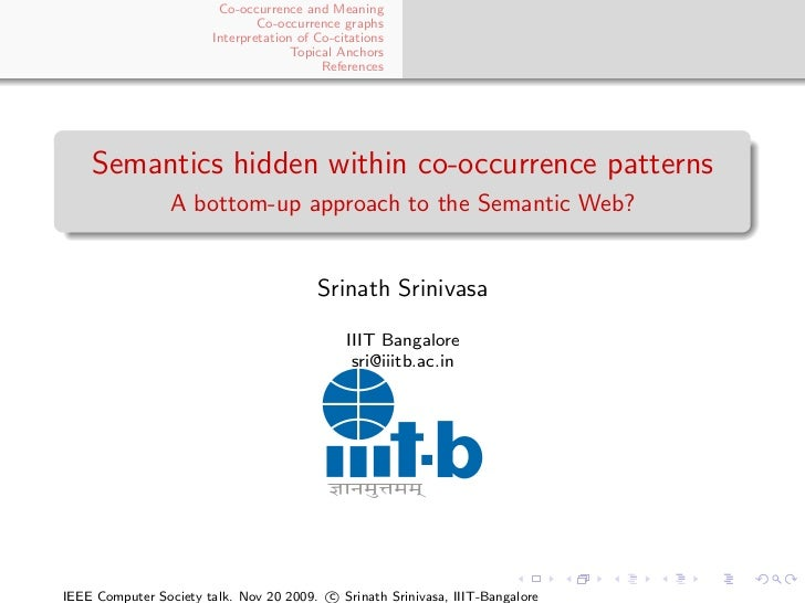Semantics hidden within co-occurrence patterns