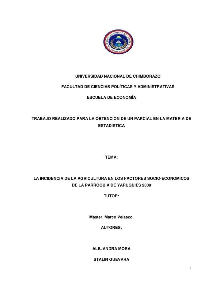 UNIVERSIDAD NACIONAL DE CHIMBORAZO<br />FACULTAD DE CIENCIAS POLÍTICAS Y ADMINISTRATIVAS<br />ESCUELA DE ECONOMÍA<br />TRA...