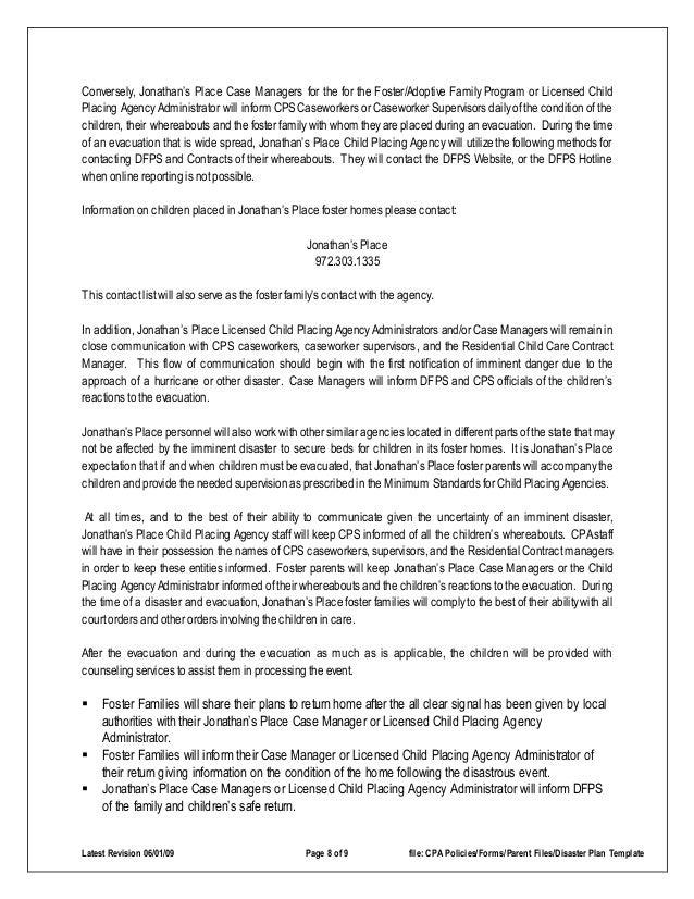 child care plan template pdf