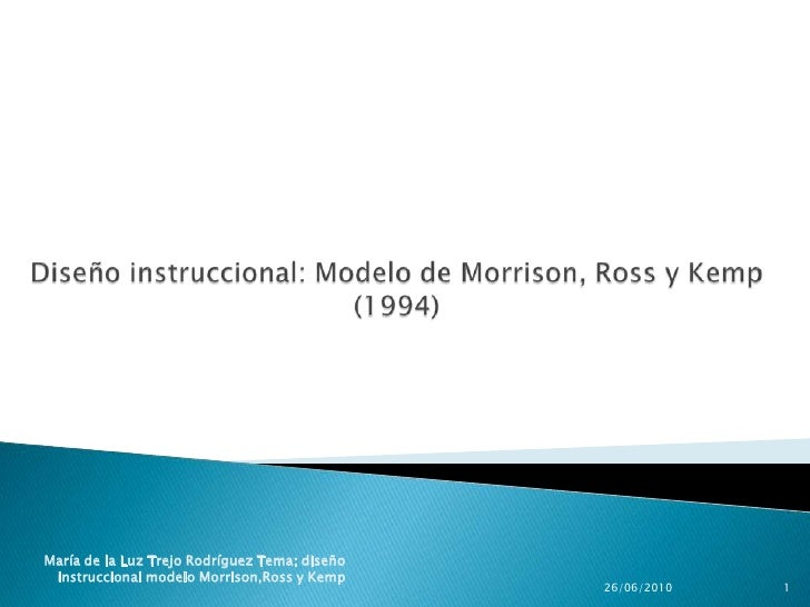 C:\Fakepath\DiseñO InstruccióN Modelo De Morrison  Ross Y Kemp
