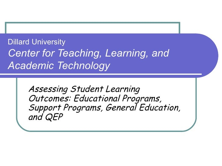 DU CTLAT Presentation Assessing Student Learning Outcomes Educational Programs Support Programs General Education and QEP