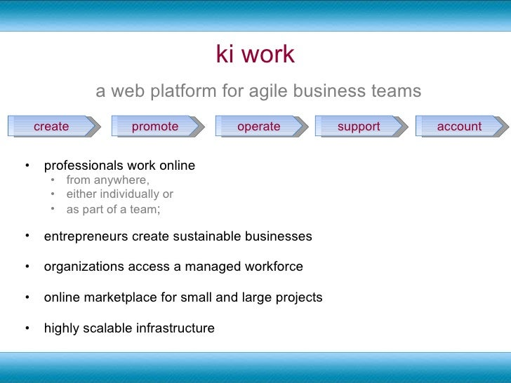 ki work <ul><li>professionals work online  </li></ul><ul><ul><li>from anywhere,  </li></ul></ul><ul><ul><li>either individ...