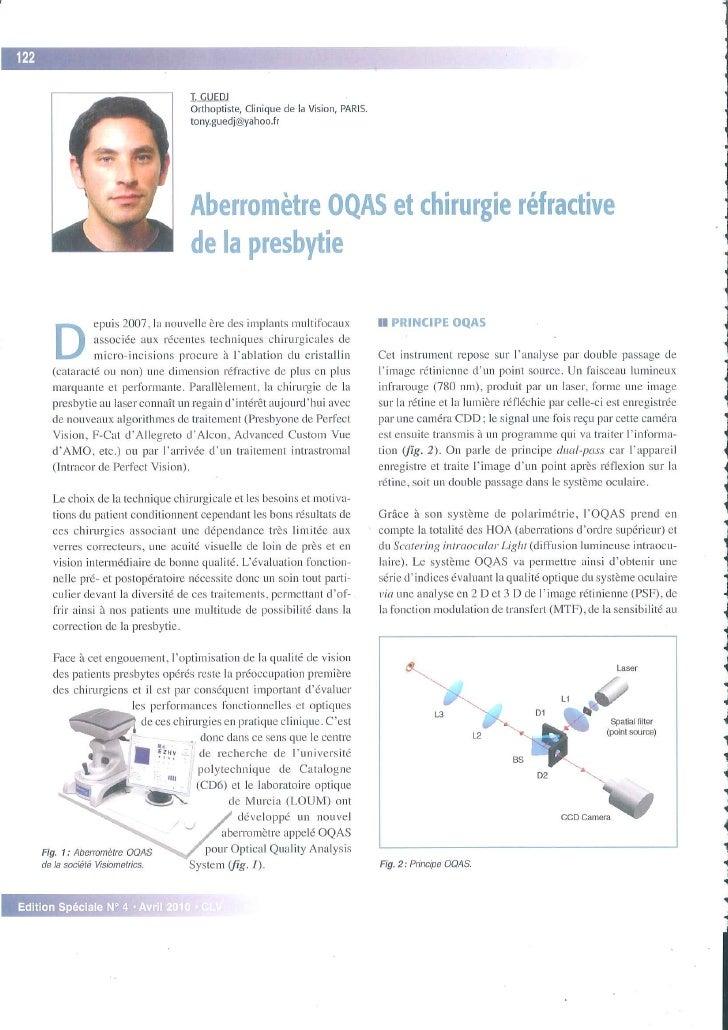 Aberromètre OQAS et chirurgie réfractive de la presbytie