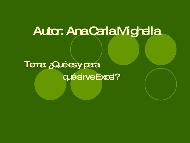 Autor: Ana Carla Mighella Tema : ¿Qué es y para  qué sirve Excel?