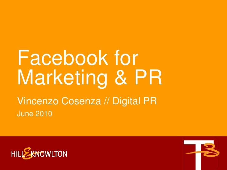 Facebook For Marketing And Public Relations