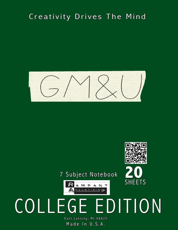 Creativity Drives The Mind            7 Subject Note book       20                                  SHEETS    COLLEGE EDIT...