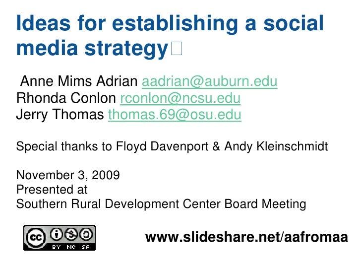 Ideas for establishing a social media strategy Anne Mims Adrian aadrian@auburn.edu Rhonda Conlon rconlon@ncsu.edu Jerry T...