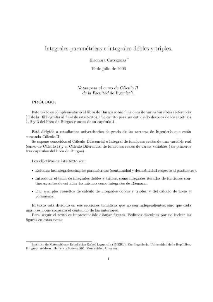 Integrales param´tricas e integrales dobles y triples.                             e                                      ...