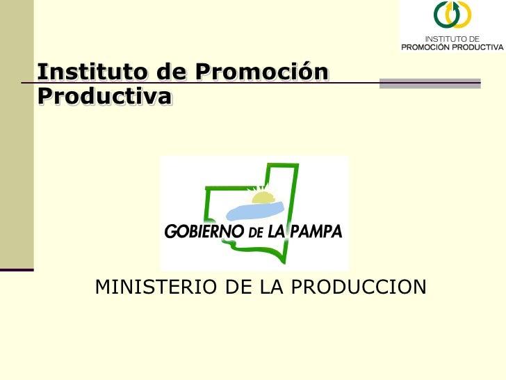 Instituto de Promoción Productiva         MINISTERIO DE LA PRODUCCION