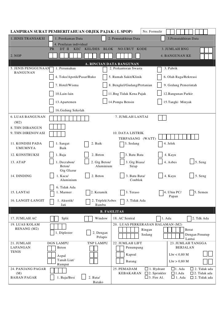 Lampiran Surat Pemberitahuan Objek Pajak LSPOP