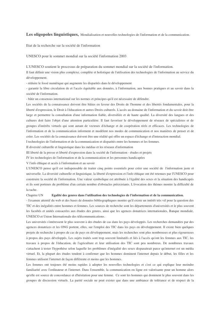 Les oligopoles linguistiques,              Mondialisation et nouvelles technologies de l'information et de la communicatio...