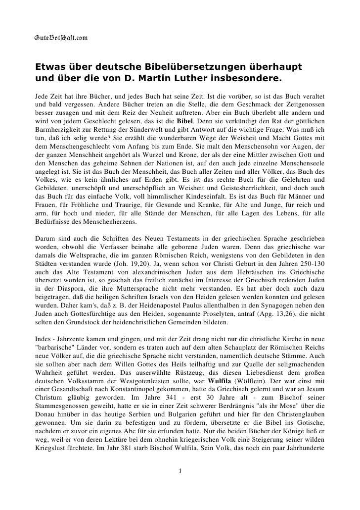 GuteBot[aft.$om    Etwas über deutsche Bibelübersetzungen überhaupt und über die von D. Martin Luther insbesondere. Jede Z...