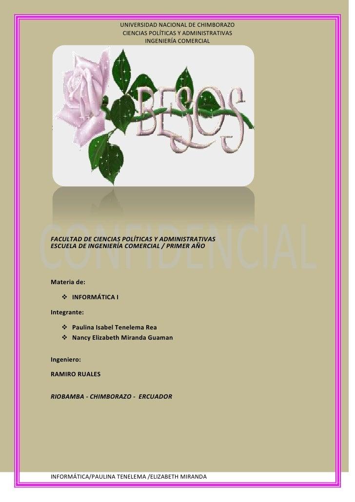 FACULTAD DE CIENCIAS POLÍTICAS Y ADMINISTRATIVAS<br />ESCUELA DE INGENIERÍA COMERCIAL / PRIMER AÑO<br />Materia de:<br />I...
