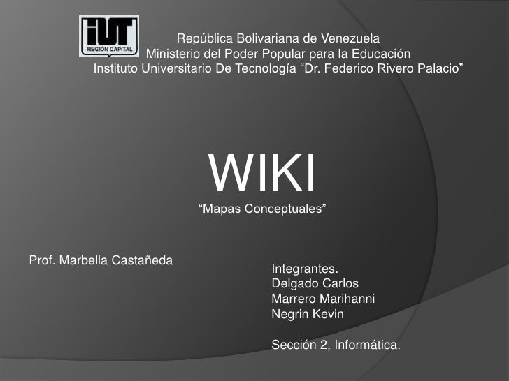 República Bolivariana de Venezuela<br />Ministerio del Poder Popular para la Educación<br />Instituto Universitario De Tec...