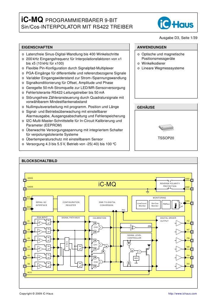 iC-MQ PROGRAMMIERBARER 9-BIT  Sin/Cos-INTERPOLATOR MIT RS422 TREIBER                                                      ...