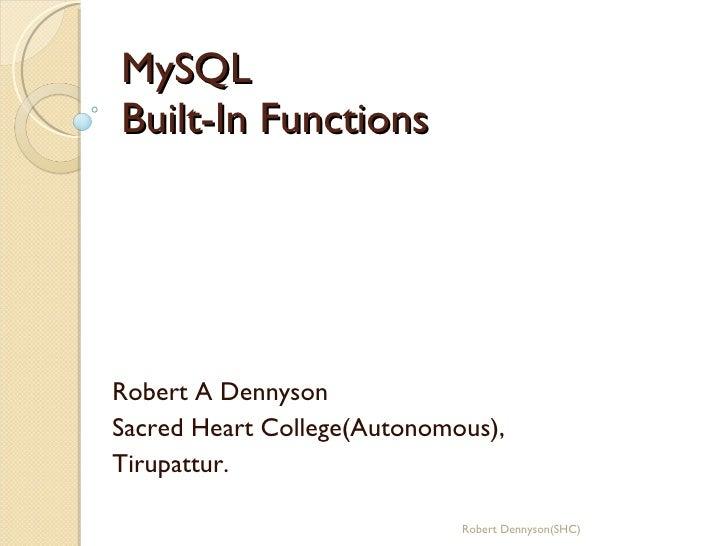 MySQL Built-In Functions