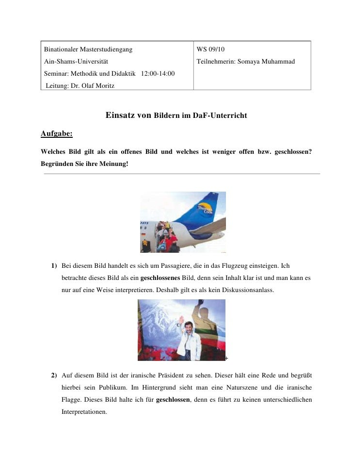 WS 09/10Teilnehmerin: Somaya MuhammadBinationaler MasterstudiengangAin-Shams-UniversitätSeminar: Methodik und Didaktik   1...
