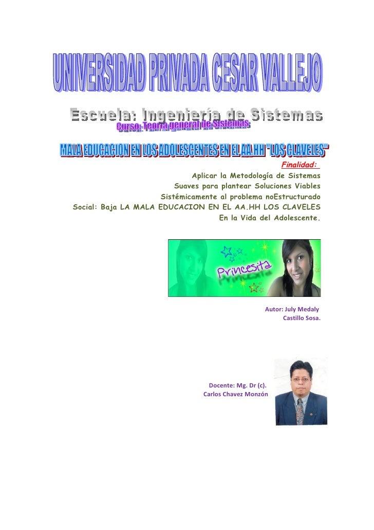 Finalidad:                              Aplicar la Metodología de Sistemas                          Suaves para plantear S...