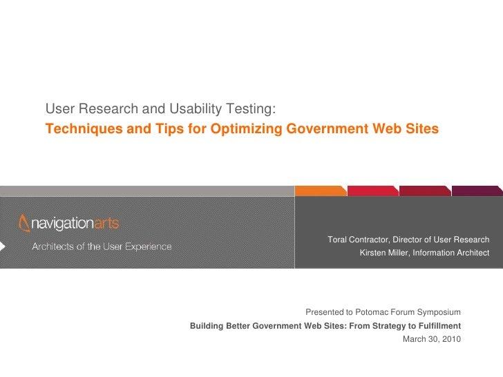 User Research & Usability Testing - NavigationArts