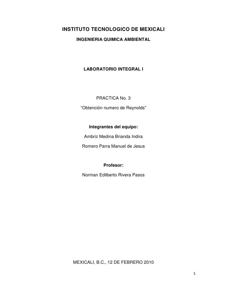 INSTITUTO TECNOLOGICO DE MEXICALI<br />INGENIERIA QUIMICA AMBIENTAL<br />LABORATORIO INTEGRAL I<br />PRACTICA No. 3 <br />...