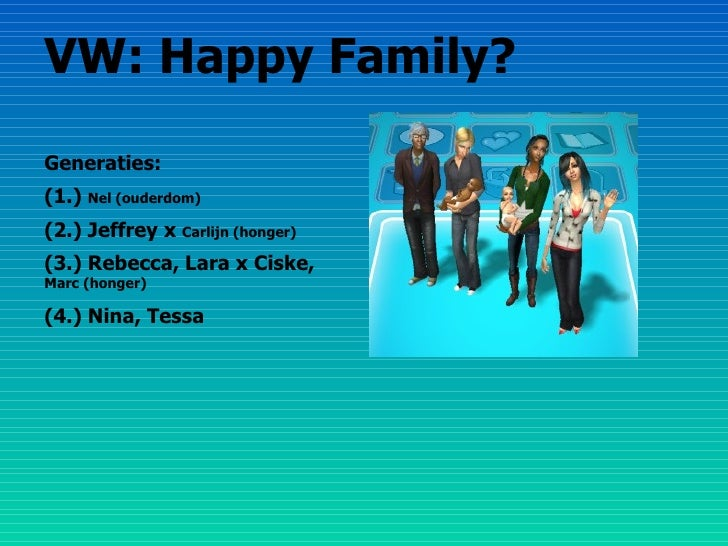 VW: Happy Family? Generaties: (1.)  Nel (ouderdom) (2.) Jeffrey x  Carlijn (honger) (3.) Rebecca, Lara x Ciske,  Marc (hon...