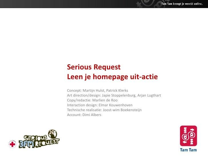 Leen je homepage uit-actie Serious Request 2009