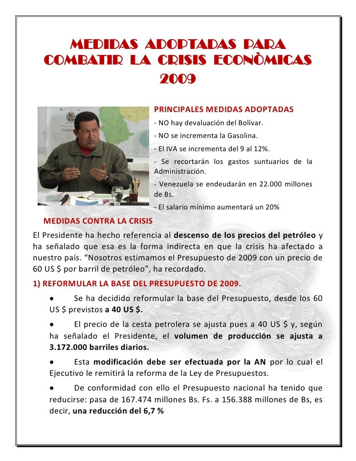 MEDIDAS ADOPTADAS PARA COMBATIR LA CRISIS ECONOMICA