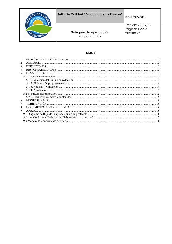 Procedimiento de aprobación de protocolos del Sello de Calidad