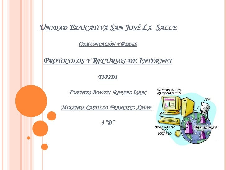 Unidad Educativa San José La  SalleComunicación y RedesProtocolos y Recursos de InternetT1P2D1Fuentes Bowen  Rafael IsaacM...